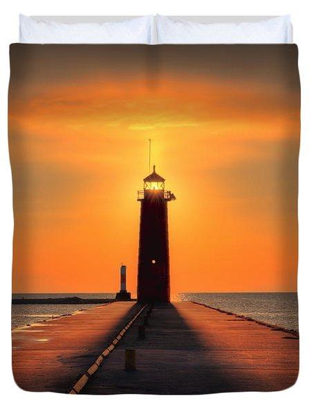 Kenosha Lighthouse Shining Light Duvet Cover