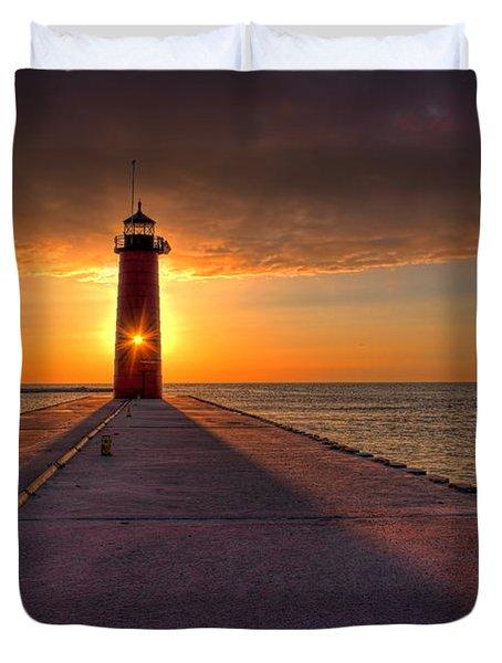 Kenosha Lighthouse Sunrise Duvet Cover