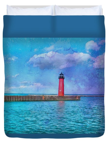 Duvet Cover featuring the painting Kenosha North Pier Lighthouse by Kai Saarto
