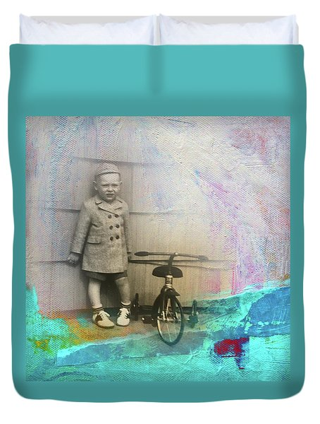 Duvet Cover featuring the mixed media Kent Tricycle by Nancy Merkle