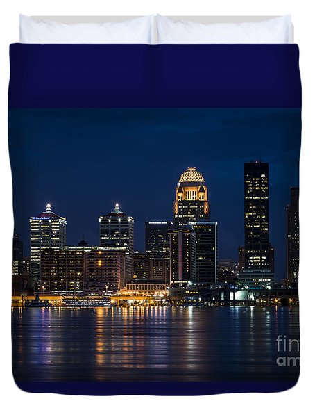 Duvet Cover featuring the photograph Louisville At Night by Andrea Silies