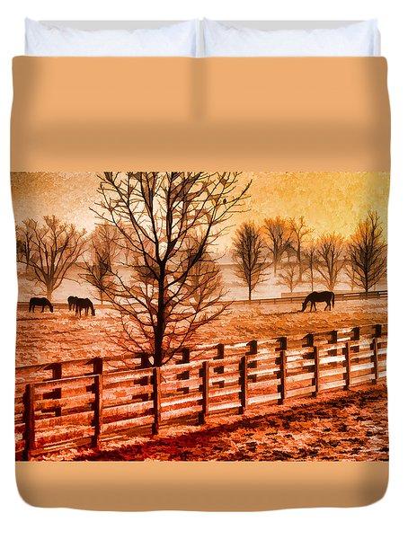 Kentucky Horse Farm  Duvet Cover by Dennis Cox WorldViews