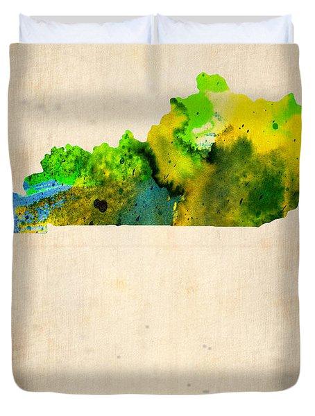 Kentucky Watercolor Map Duvet Cover by Naxart Studio