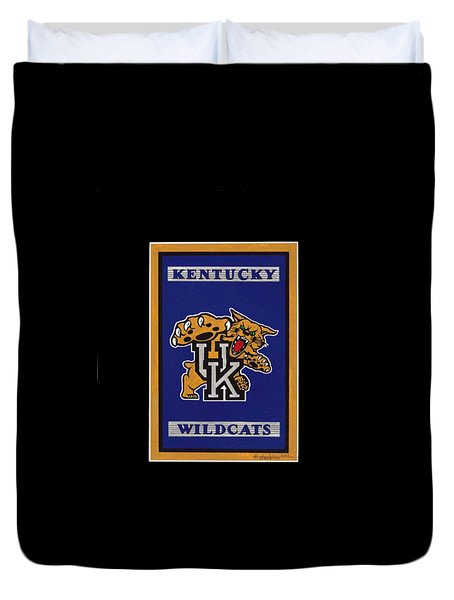 Ky Wildcats Logo T-shirt Duvet Cover by Herb Strobino