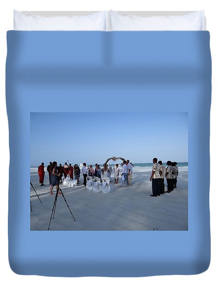 Kenya Wedding On Beach 2 With Maasai Duvet Cover