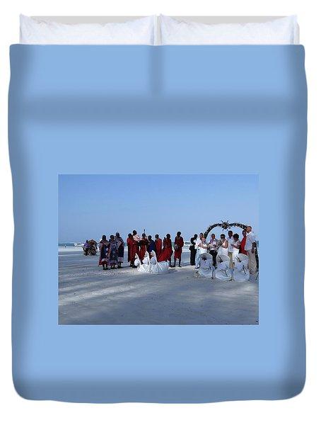 Kenya Wedding On Beach With Maasai Duvet Cover