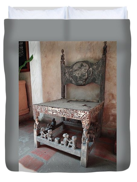 Kenyan African Antique Carved Chair Duvet Cover by Exploramum Exploramum