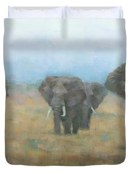 Kenyan Elephants Duvet Cover