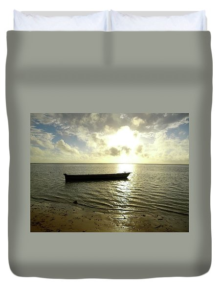 Kenyan Wooden Dhow At Sunrise Duvet Cover