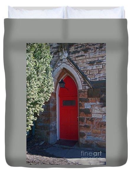Red Church Door Duvet Cover
