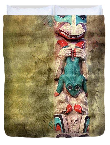 Ketchikan Alaska Totem Pole Duvet Cover by Bellesouth Studio