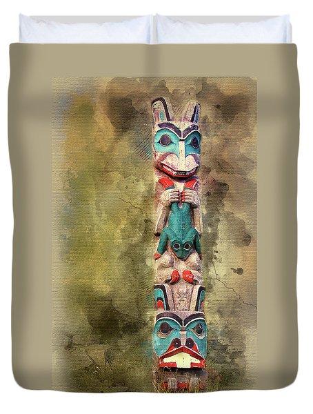 Ketchikan Alaska Totem Pole Duvet Cover