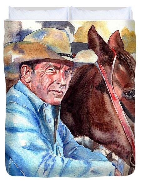 Kevin Costner Portrait Duvet Cover