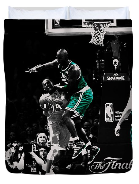 Kevin Garnett Not In Here Duvet Cover by Brian Reaves