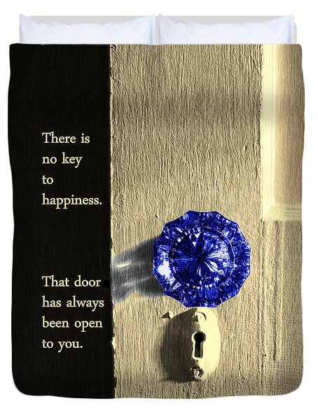 Duvet Cover featuring the photograph Key To Happiness by Deborah Smith