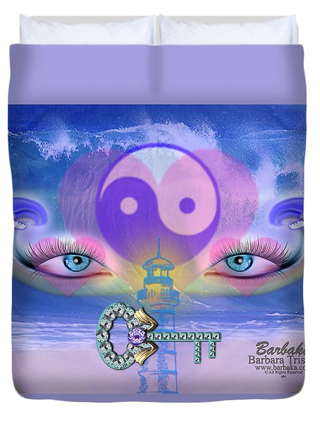 Duvet Cover featuring the digital art Hope Is The Key To Balance Love And Peace by Barbara Tristan