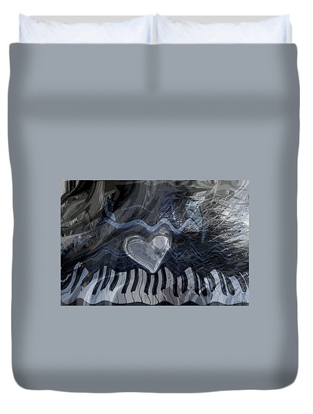 Duvet Cover featuring the digital art Key Waves by Linda Sannuti