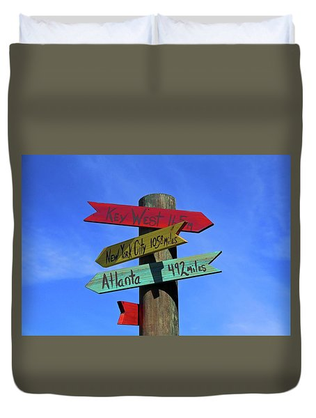 Key West 165 Miles Duvet Cover