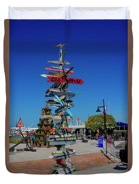 Key West Destination Sign Duvet Cover
