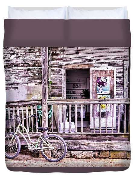 Key West Flower Shop Duvet Cover