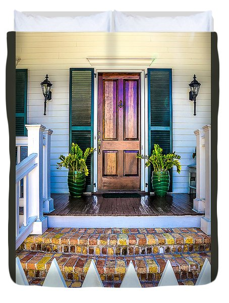 Duvet Cover featuring the photograph Key West Homes 16 by Julie Palencia