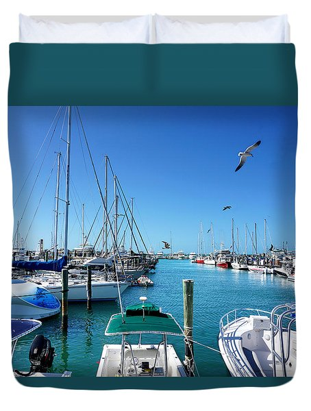 Duvet Cover featuring the photograph Key West Marina by Kathi Mirto