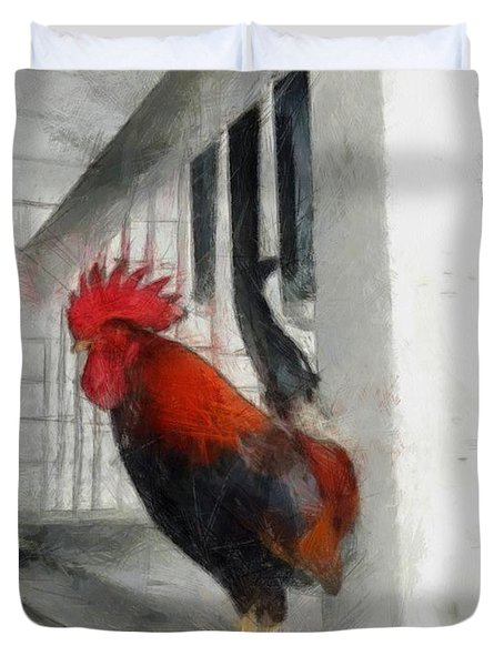 Key West Porch Rooster Duvet Cover by Michelle Calkins