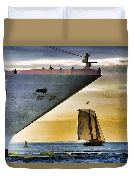 Key West Sunset Sail Duvet Cover by Dennis Cox WorldViews