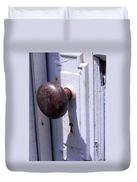 Duvet Cover featuring the photograph Keyhole by Steve Godleski