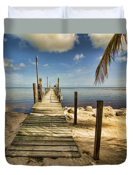 Duvet Cover featuring the photograph Keys Dock by Don Durfee