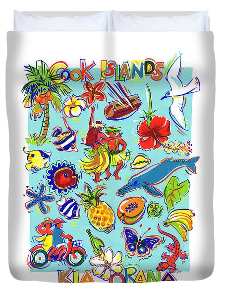 Duvet Cover featuring the painting Kia Orana Cook Islands by Judith Kunzle