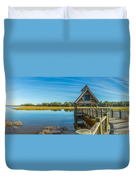Kiawah Island Boathouse Panoramic Duvet Cover