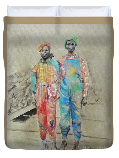 Kickin' It -- Black Children From 1930s Duvet Cover