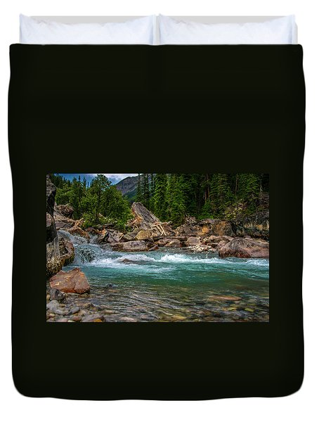 Kicking Horse And Yoho River Meet. Duvet Cover by Patrick Boening