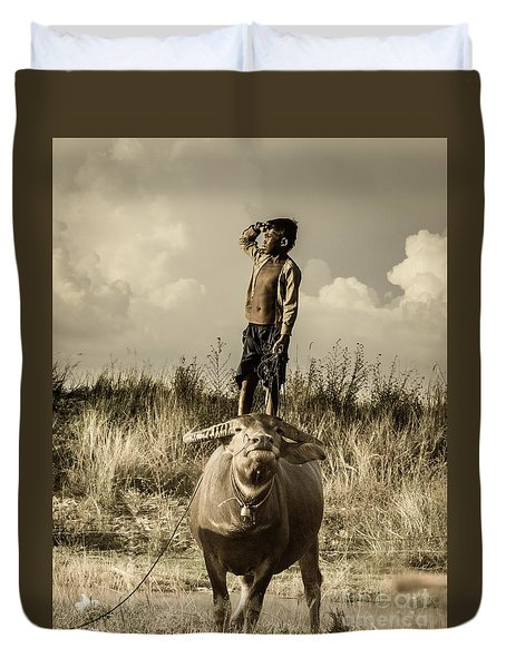 Kid And Cow Duvet Cover