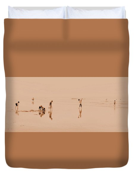 Kids At Play In Sepia Duvet Cover