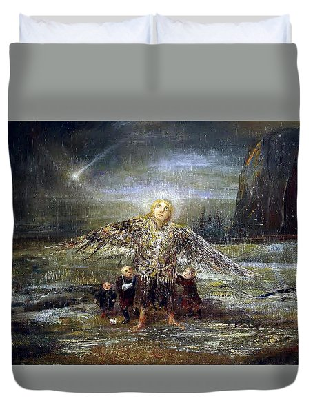 Kids Guiding The Angel Duvet Cover
