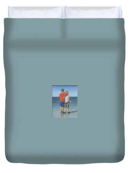 Duvet Cover featuring the painting Kids by Natalia Tejera