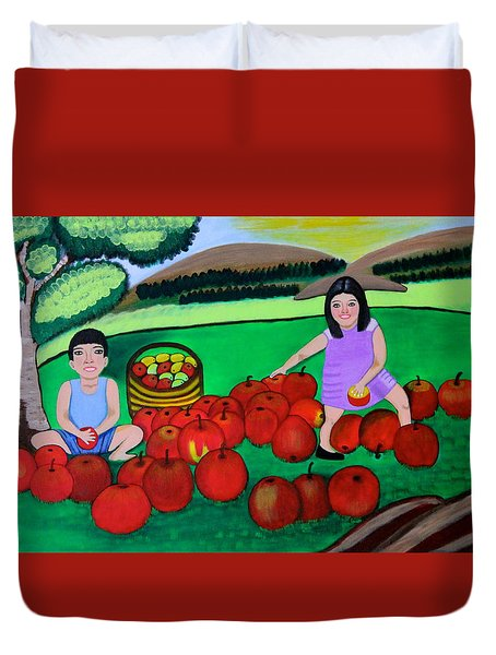 Kids Playing And Picking Apples Duvet Cover