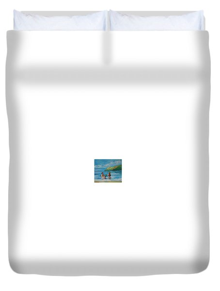 Kids Playing On The Beach Duvet Cover