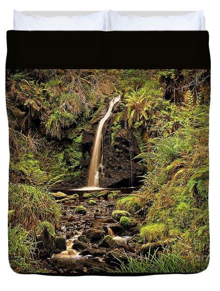 Kielder Forest Waterfall Duvet Cover