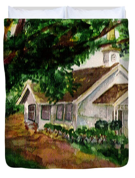 Duvet Cover featuring the painting Kihei Chapel by Eric Samuelson