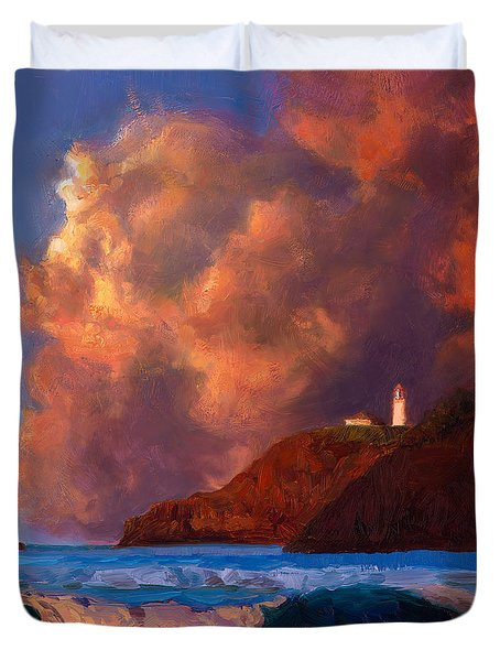 Kilauea Lighthouse - Hawaiian Cliffs Sunset Seascape And Clouds Duvet Cover
