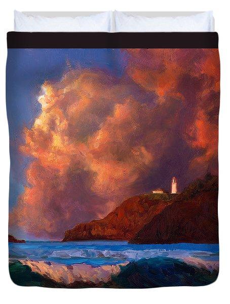Kilauea Lighthouse - Hawaiian Cliffs Sunset Seascape And Clouds Duvet Cover
