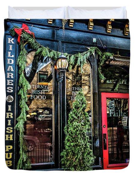 Kildares Irish Pub At Christmas Duvet Cover