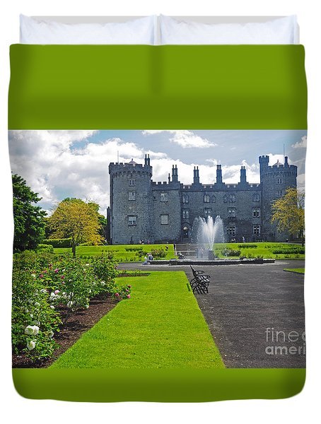 Kilkenny Castle From Rose Garden Duvet Cover by Cindy Murphy - NightVisions