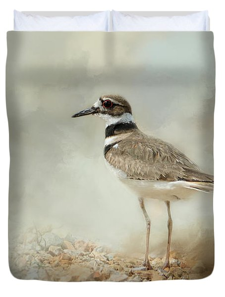 Killdeer On The Rocks Duvet Cover