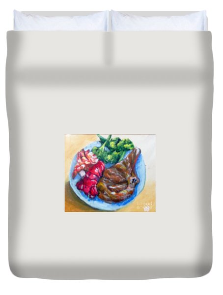 Duvet Cover featuring the painting Killer Meal by Saundra Johnson