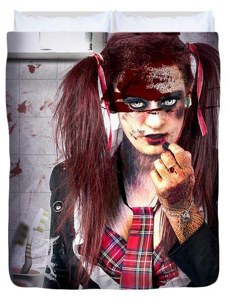 Killer School Girl In A Murder Cover Up Duvet Cover