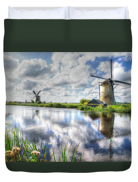 Duvet Cover featuring the photograph Kinderdijk by Uri Baruch